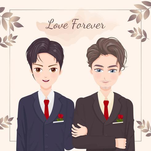 Homosexual couple getting married vector