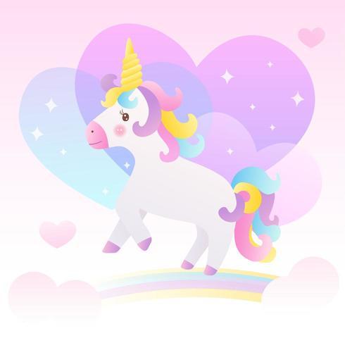 Unicornio y colorido arcoiris en el cielo