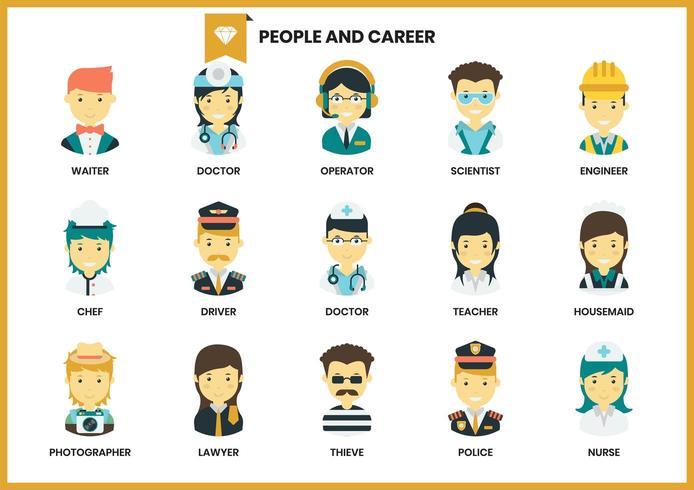 Set di icone di persone e carriera