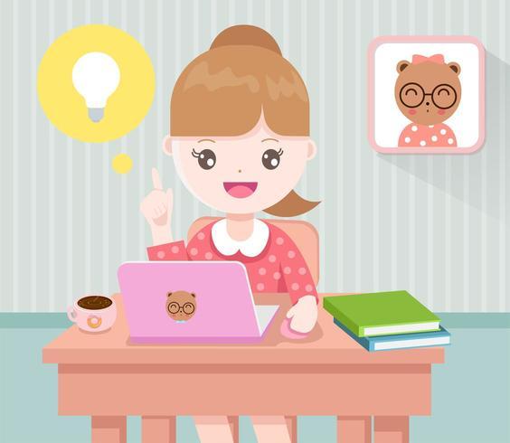 Meisje dat op haar laptop werkt