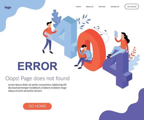 Pagina 404 non trovata illustrazione isometrica vettore