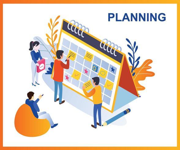 Planeando en un calendario vector