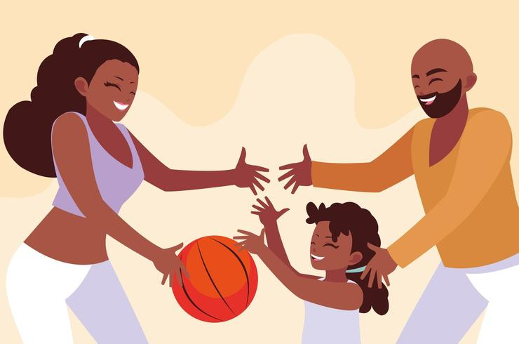 Mother and father with daughter playing design vector