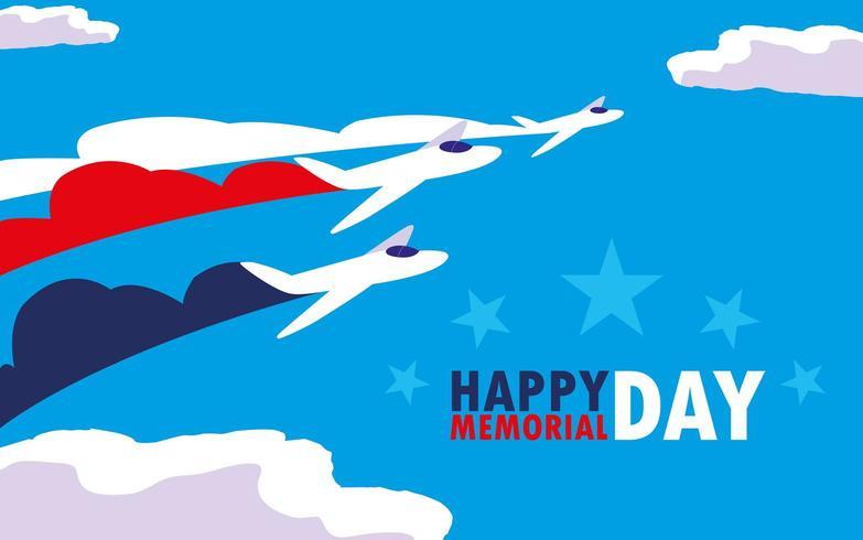feliz tarjeta del día conmemorativo con aviones vector