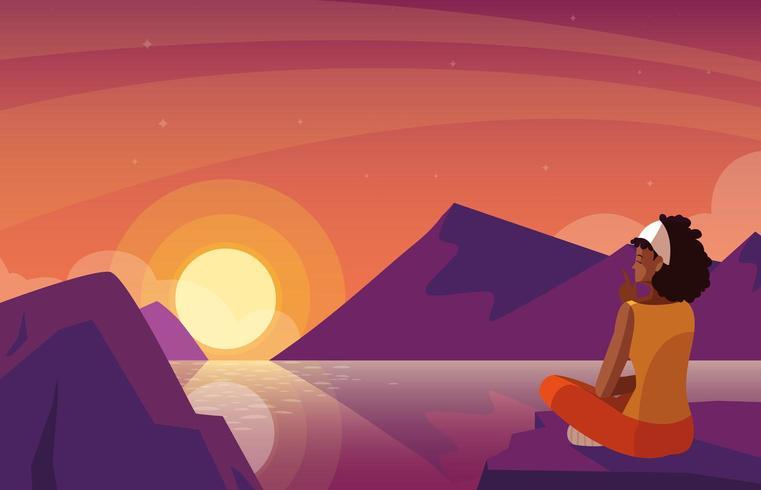 mulher sentada observando a paisagem por do sol com lago vetor