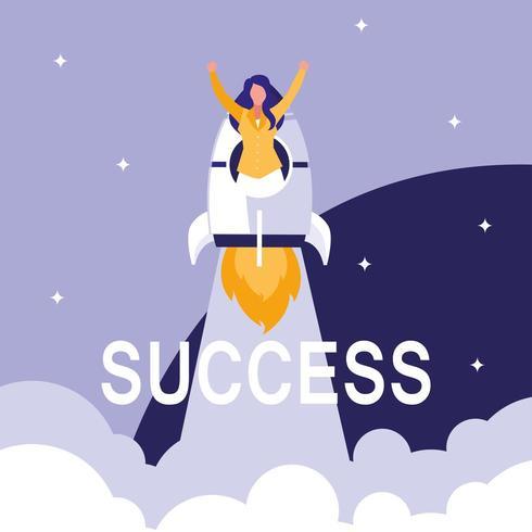 imprenditrice di successo che celebra con il razzo vettore