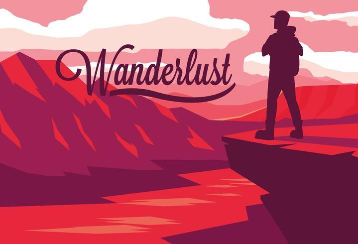paisaje de escena con río y viajero wanderlust vector