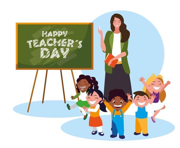 tarjeta de feliz día con maestra y estudiantes vector