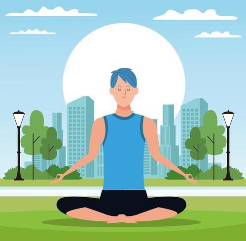 Uomo che si siede nella posa di yoga in parco vettore