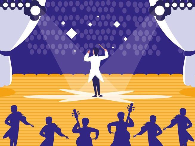 palcoscenico con spettacolo musicale vettore