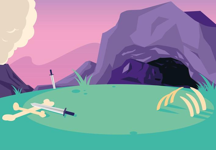 fairytale landscape scene with cabe and swords