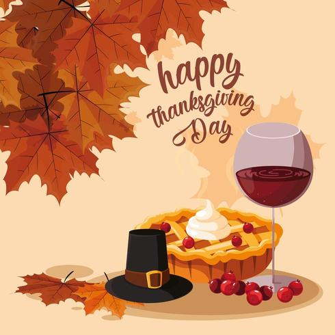 pilgrim hat with pie and wine glass vector