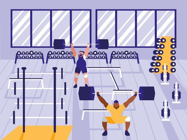 uomini sollevamento pesi in palestra sportiva