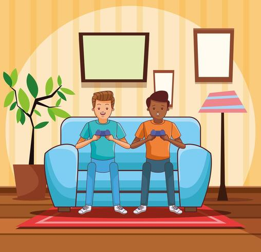 Adolescentes jugando videojuegos vector