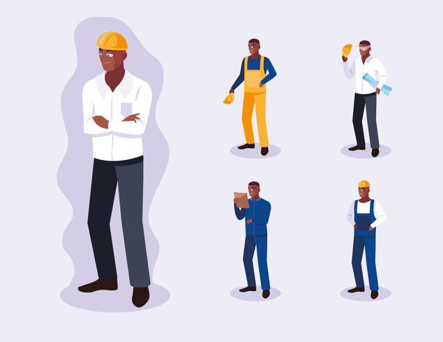 Conjunto de avatares de diseño de trabajadores profesionales vector