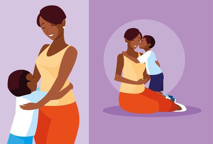 grupo de madres y niños lindos vector