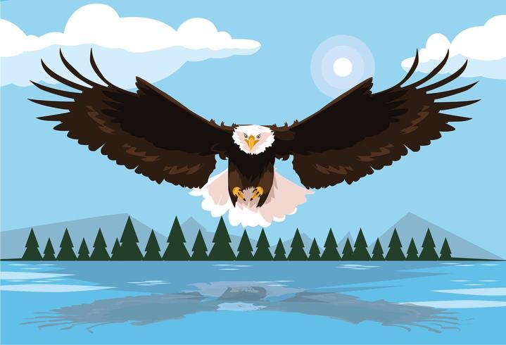 águia careca pássaro voando com paisagem vetor