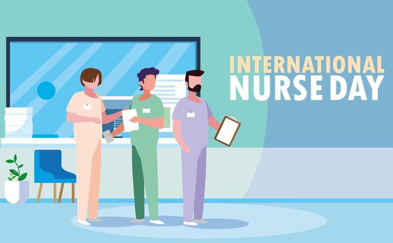 día internacional de la enfermera con un grupo de profesionales vector
