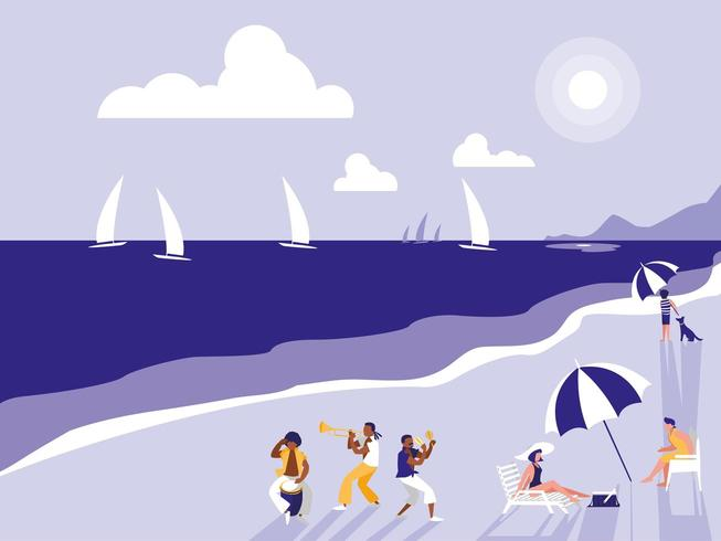 people in tropical beach seascape vector