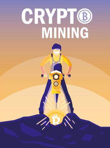 Arbeiter-Crypto-Mining-Bitcoins vektor