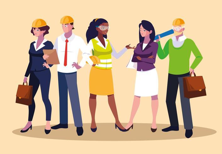 Conjunto de avatares de diseño de trabajadores profesionales
