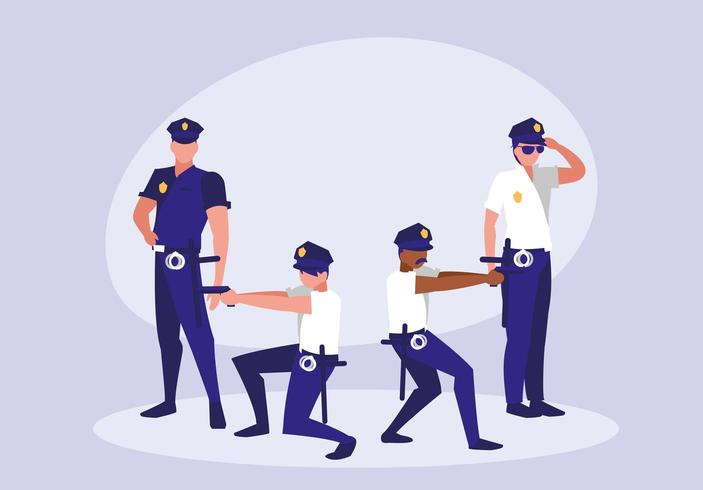 group of policemen avatar character vector