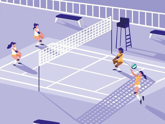 Volleyball-Sportplatz-Szene