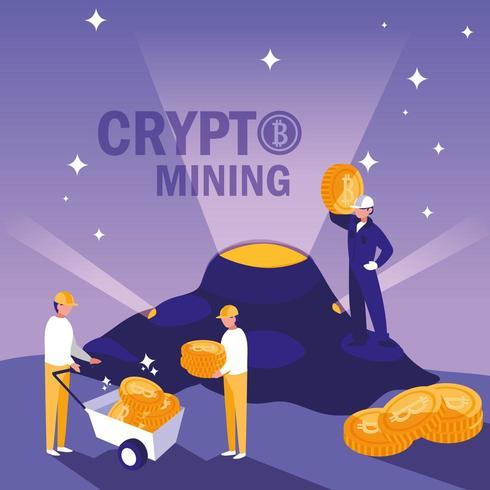 Teamworkers Crypto Mining Bitcoins vektor