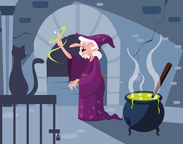 escena de guarida de brujas con gato negro y caldero vector