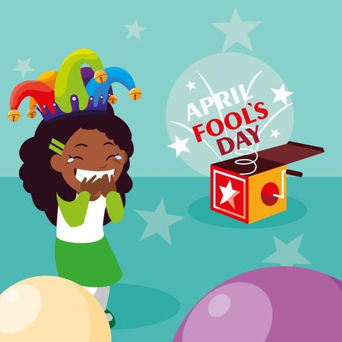 happy girl on april fools day card vector