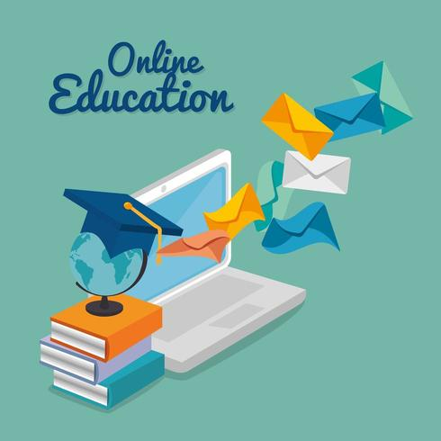laptop with education online service vector