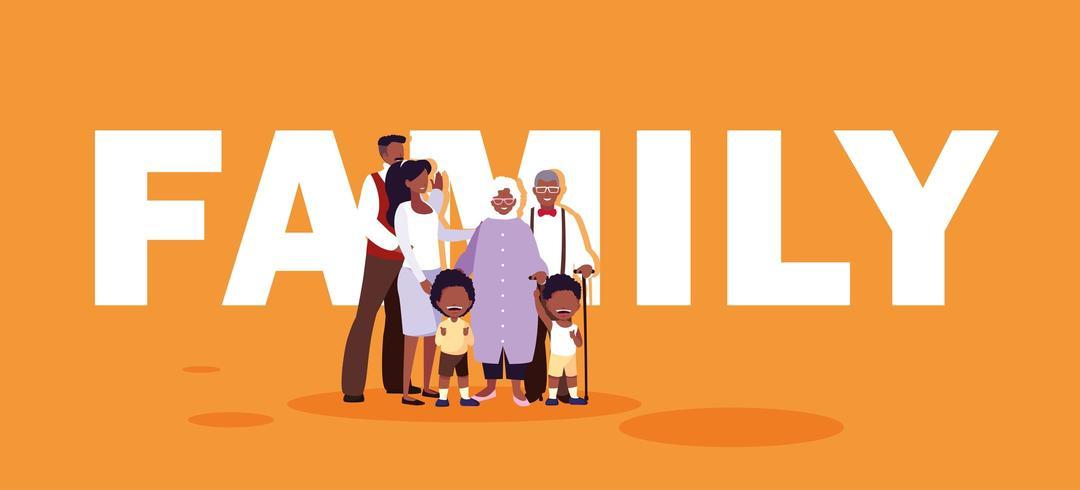 lindos miembros de la familia en cartel
