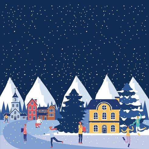 Small town winter scene  vector