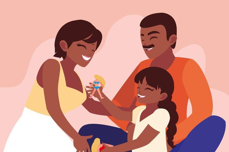 Mutter und Vater mit Tochterspielen vektor