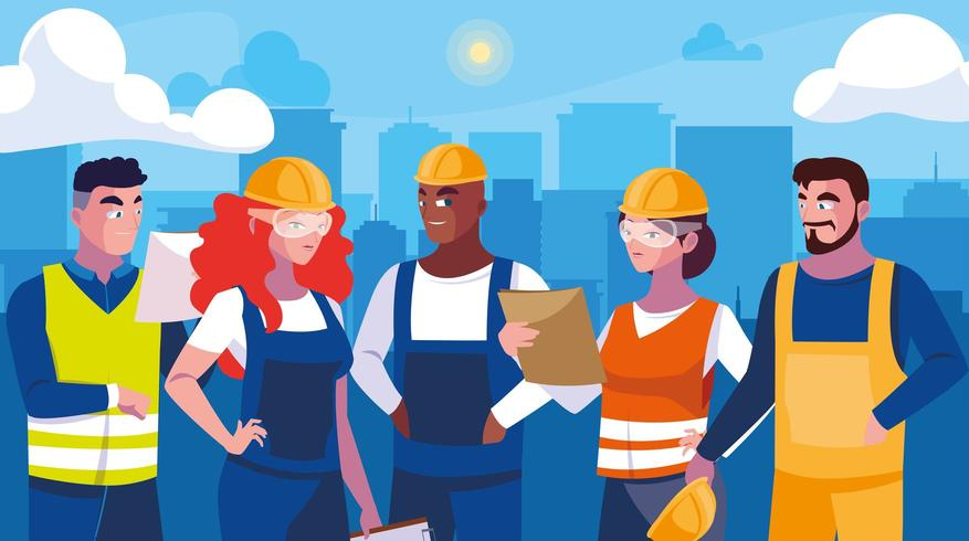 Set of professional workers design vector