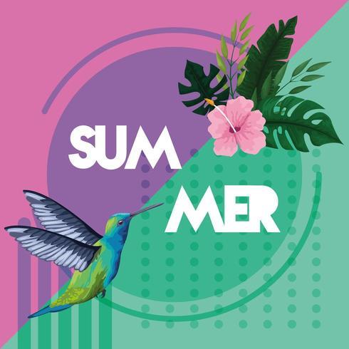 Tarjeta de póster colorido hola verano vector
