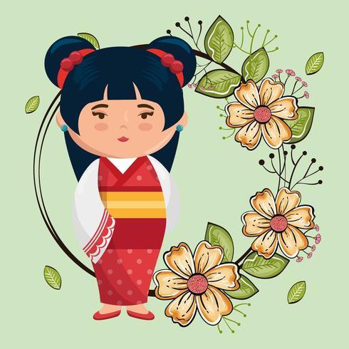 kawaii japanese girl with flowers vector