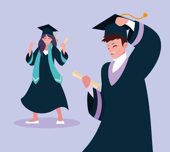 Graduación de diseño de niño y niña estudiante vector