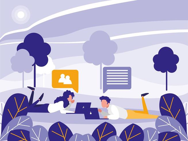 young couple using laptop in the landscape vector