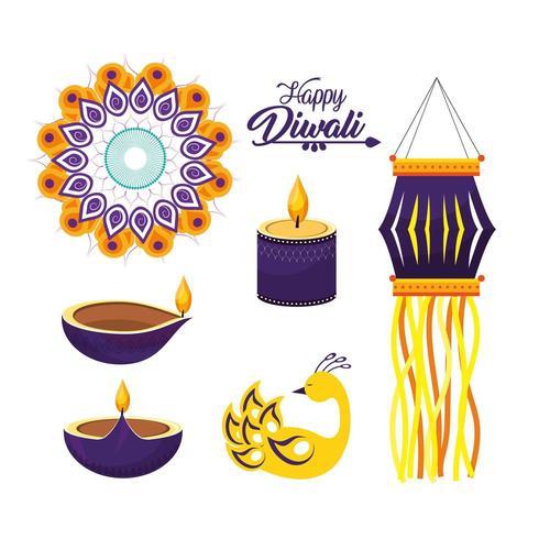conjunto de decoraciones del festival hindú diwali vector