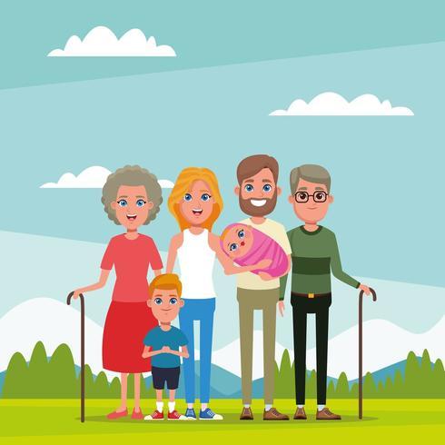 Familia y abuelos con dibujos animados de niños