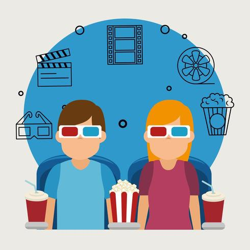 giovani con gli occhiali icone 3d e cinema