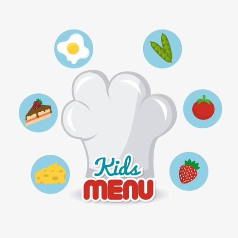 Kids food icons and chef hat