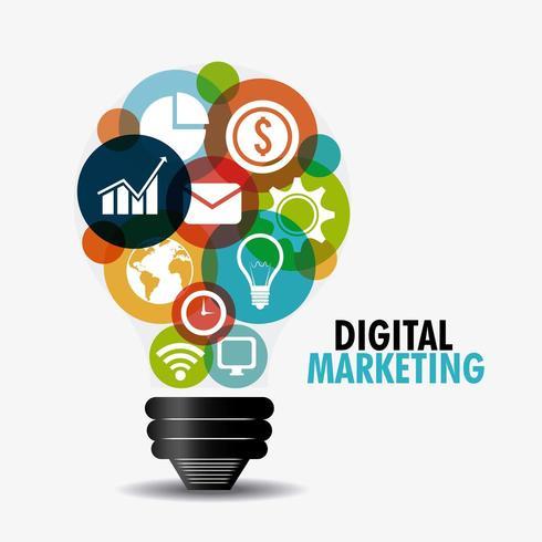 Digital marketing icons in light bulb shape vector