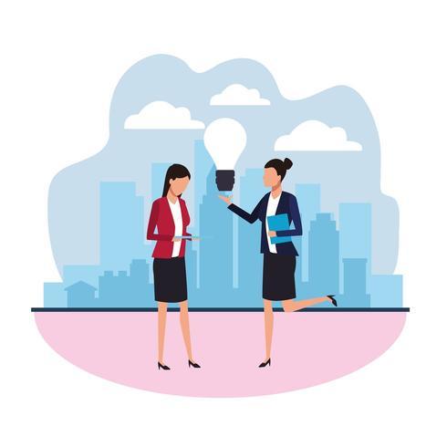 Teamwork-Design mit Geschäftsfrauen und Glühlampe der Idee