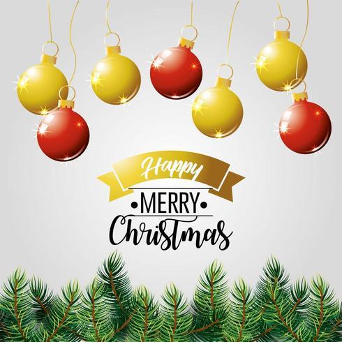 buon natale vacanza poster con alberi e ornamenti