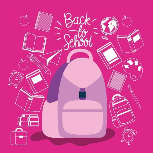 mochila y útiles de regreso a la escuela vector