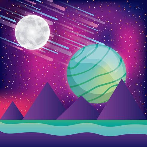 Colorful 3d futuristic space landscape