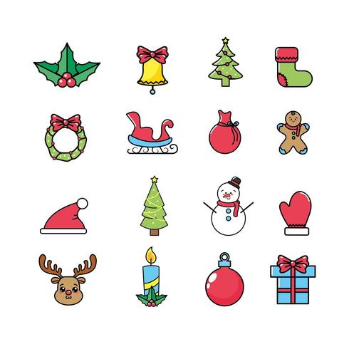 christmas celebration and holiday decoration icon set