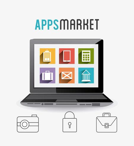 Mobile apps icon set with laptop
